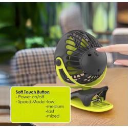 Yoobao YF04 Silent 4-speed Portable 720° 32hr 6400mAh Rechargeable Clip Fan