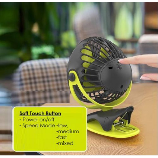 Yoobao YF04 Silent 4-speed Portable 720° 32hr 6400mAh Rechargeable Clip Fan